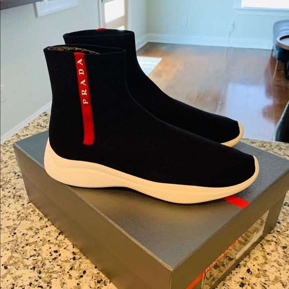 Prada Shoes | Mens Black Sock Runners